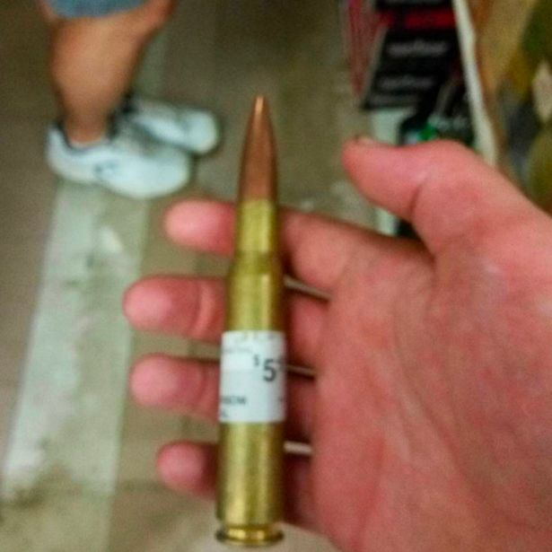 Sharpe also posted this image of a large bullet in his hand last September (Image: Instagram/walrusmeat)