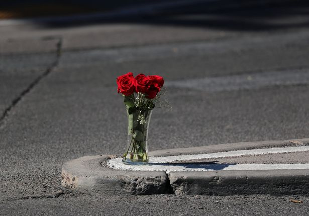 A solitary vase of red roses pictured near the scene of the mass shooting (Image: REUTERS)