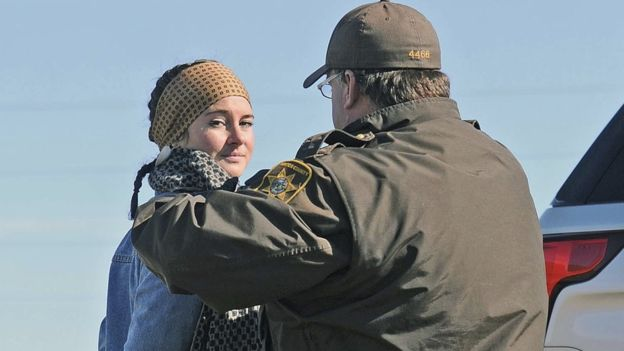 Shailene Woodley is arrested and led away in North Dakota. 10 Oct 2016