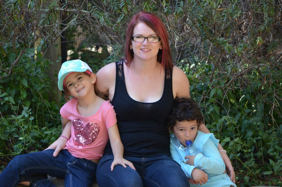 Kylie Travers with her daughters when she was homeless