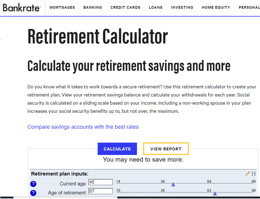 Bankrate Retirement Calculator ~ Chief Mom Officer
