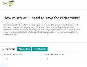 Calc XML Retirement Calculator Review