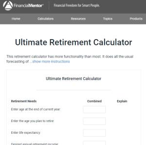 Financial Mentor Retirement Calculator Review