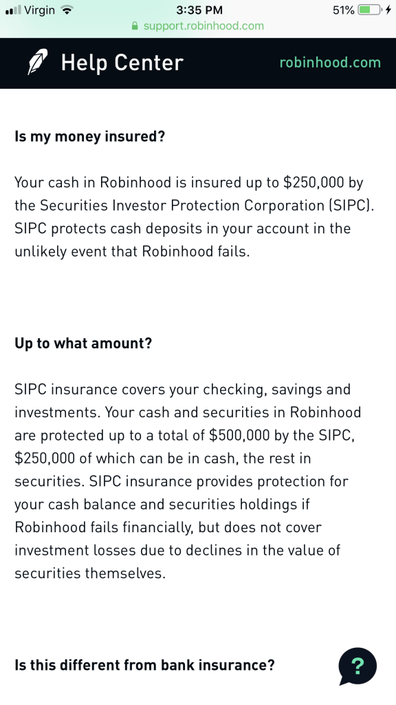Robinhood SIPC Disclosure