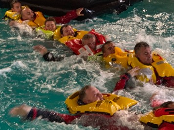 RYA MCA Sea Survival Pool Swimming in Lifejackets
