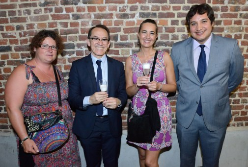Pedro Santiago Allemant - Movie director, Maria Luna Duran - Fédération Cynologique Internationale (FCI), members of the FCI and the Embassy of Peru in Belgium. Photo by Mauricio Alvarez.