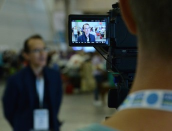 Pedro Santiago Allemant (movie director) and For a small group (Ukraninian TV program). Photo by Mauricio Alvarez