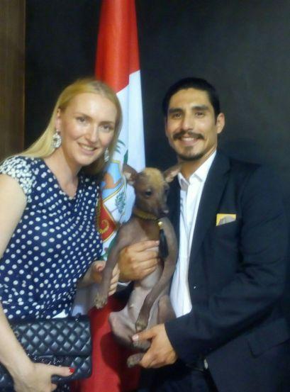 Yulia Kremenetskaia, Daniel Casanave and a representative of Peruvian Hairless Dog