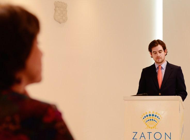 Juan Pablo Artaza, Cónsul del Perú en Croacia - discurso en la presentacion del filme. Foto: Mauricio Alvarez.