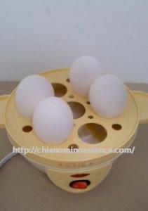 電気ゆで卵器に卵を並べる