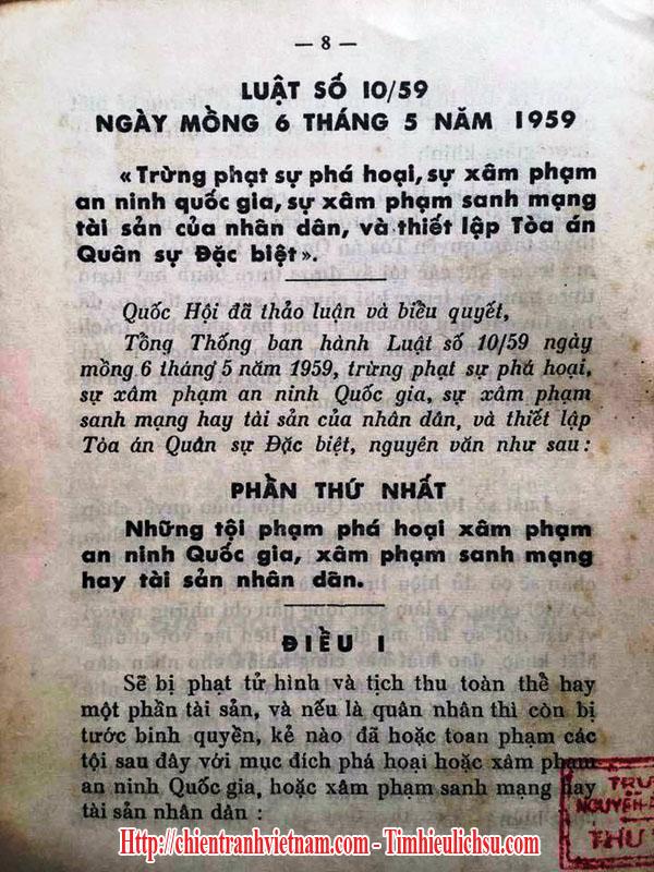Luật 10/59 xử tử bằng máy chém của tổng thống Ngô Đình Diệm trong chiến tranh Việt Nam - South Vietnamese leader Ngo Dinh Diem's 10/59 edict with guillotine in Vietnam war - 01