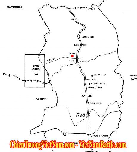 Vị trí Chiến Đoàn 52 phòng thủ Lộc Ninh, Bình Long mặt trận An Lộc ở vùng III Chiến Thuật trong Chiến Dịch Xuân Hè 1972 – Chiến Dịch Nguyễn Huệ hay còn gọi là Mùa Hè Đỏ Lửa 1972 trong chiến tranh Việt Nam - Military Region 3 in Easter Offensive 1972 in Vietnam war