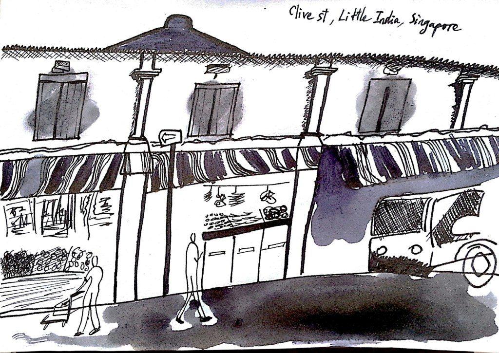 Ký họa trên đường đi chơi. Phố Clive, khu Little India, Singapore. Đây là khu màu sắc nhất, còn lại nước Singapore chán phèo. Chiều nào cũng uống masala như một người Ấn đích thực