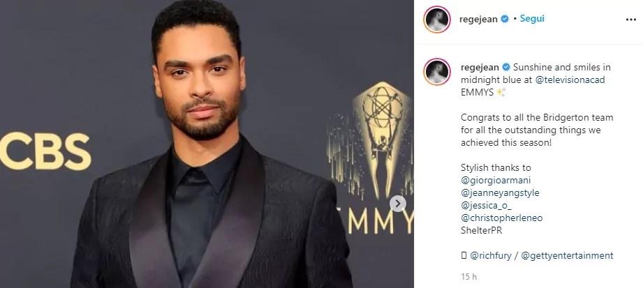 Emmy 2021: Regé-Jean Page ringrazia il cast di Bridgerton con un post speciale