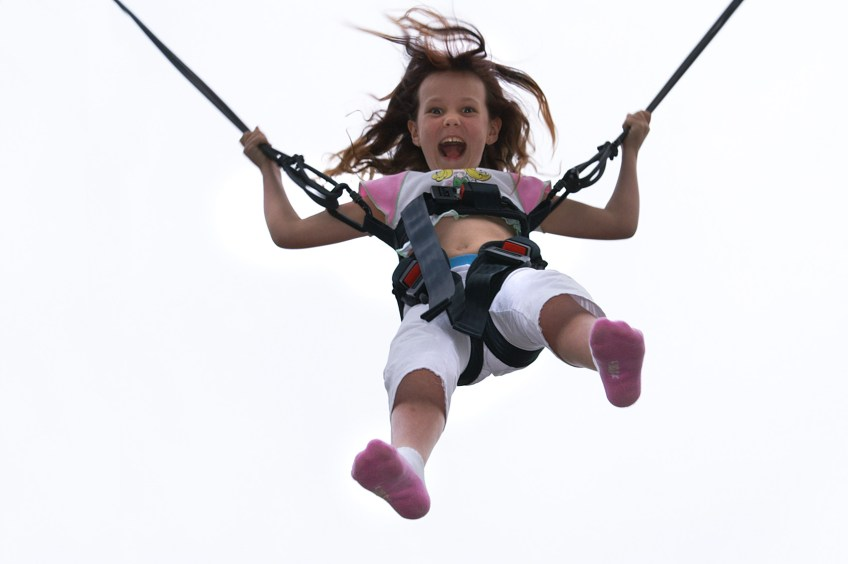 girl on bungee with purpose