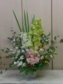 商品番号【AS141200001】¥12960 蘭系の花材をメインに作成してます。ご葬儀や法事に利用できます。 【写真は一例です。その時の入荷した鮮度の良い花でお作り致します。】 花の種類などが多少異なる場合がございますが、 あらかじめご了承ください。