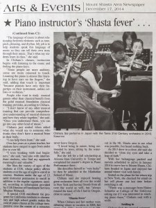 Article Mount Shasta Herald about Chiharu Sai