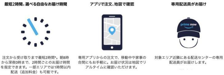 アマゾンプライムナウ(Amazon Prime Now) - 選べる自由な受取り時間 注文から受け取りまで最短2時間*。朝8時から深夜0時まで、2時間ごとのお届け時間を指定できます。一部エリアでは1時間以内配送(追加料金)も可能です。 アマゾンプライムナウ(Amazon Prime Now) - アプリで注文、地図で確認 専用アプリからの注文で、移動中や家事の合間にもお手軽に。お届け状況は地図でリアルタイムに確認いただけます。 詳細を見る アマゾンプライムナウ(Amazon Prime Now) - 専用チームによる配送 対象エリア近隣にある配送センターの専用配送員がお届けします。