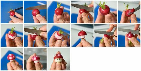 Como hacer hongos de Mario.. Con rábanos