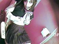 トイレで乳首オナニーからの乳首イキしてしまう女子校生