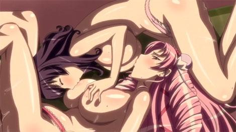 珍しいアニメの相互乳首舐め