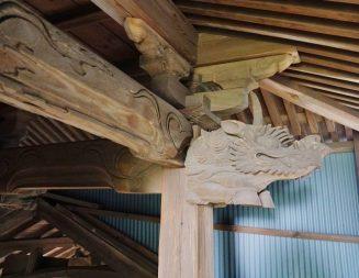 福岡県みやま市瀬高町大江 若宮神社本殿の彫刻 キリン 麒麟