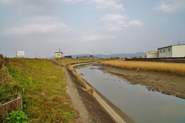 福岡県みやま市 JR飯江川橋りょう 線路 飯江川上流