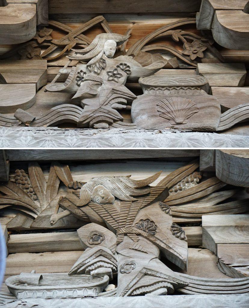 福岡県大牟田市宮部66-1 早馬神社 神門の飾り彫刻 人と瓶