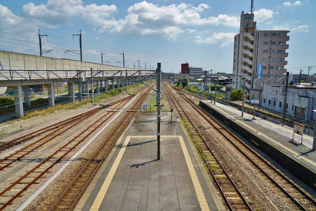 九州旅客鉄道鹿児島本線 JR荒木駅 跨線橋からの景色 大牟田・八代方面