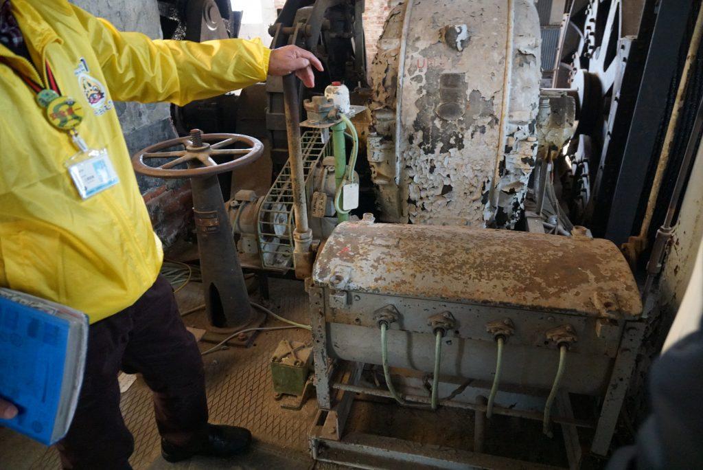 三池鉱山宮原坑跡 巻揚げ機運転席 ボランティアガイド 観光案内