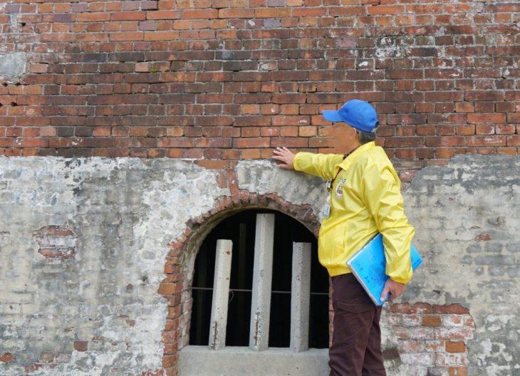 世界遺産 三池鉱山宮原坑跡 ポンプ室の壁 レンガ イギリス積み