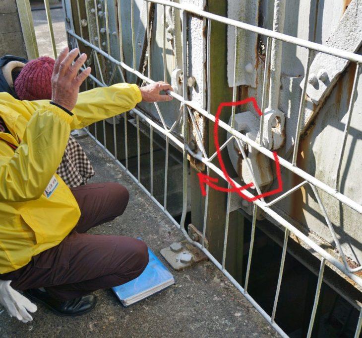 三池鉱山宮原坑跡 安全装置 エレベーター落下防止装置 ちくごさるき