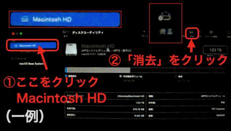 ボリュームの中の「Macintosh HD」(または、「Machintosh HD -Data」)を選択した状態で、「消去」のアイコンをクリック