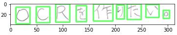 【各行の文字の輪郭検出・抽出結果 5 - Text recognition・Contours】シンプルな横書き・縦書き文章の日本語手書き文字検出