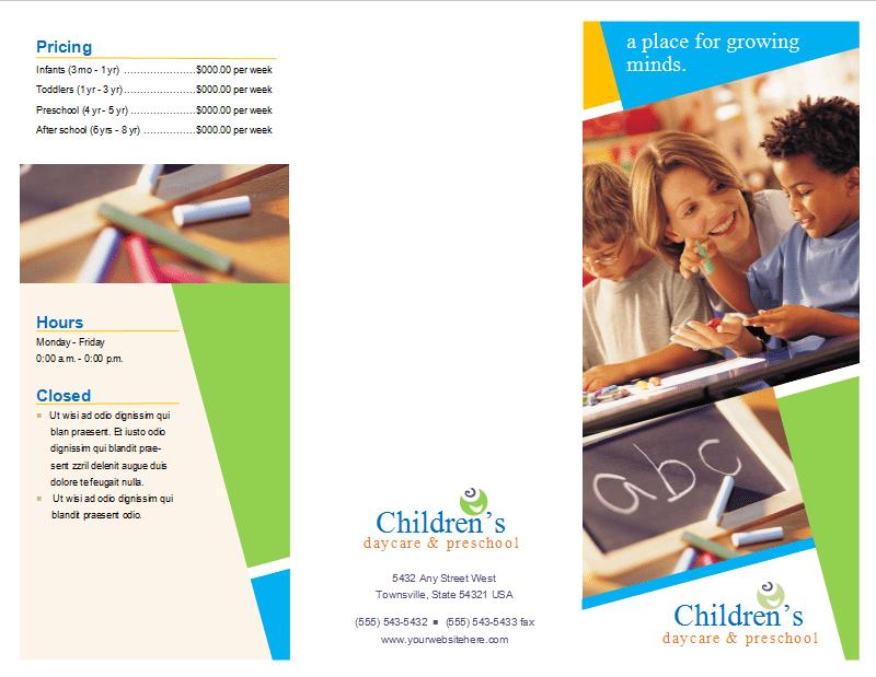 Child Care Business Cards, Child Care Folders, Child Care Marketing,  Preschool Marketing,