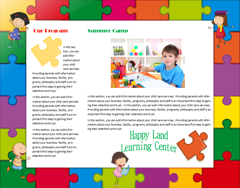 Child care brochure template 14 child care owner for Daycare brochure template