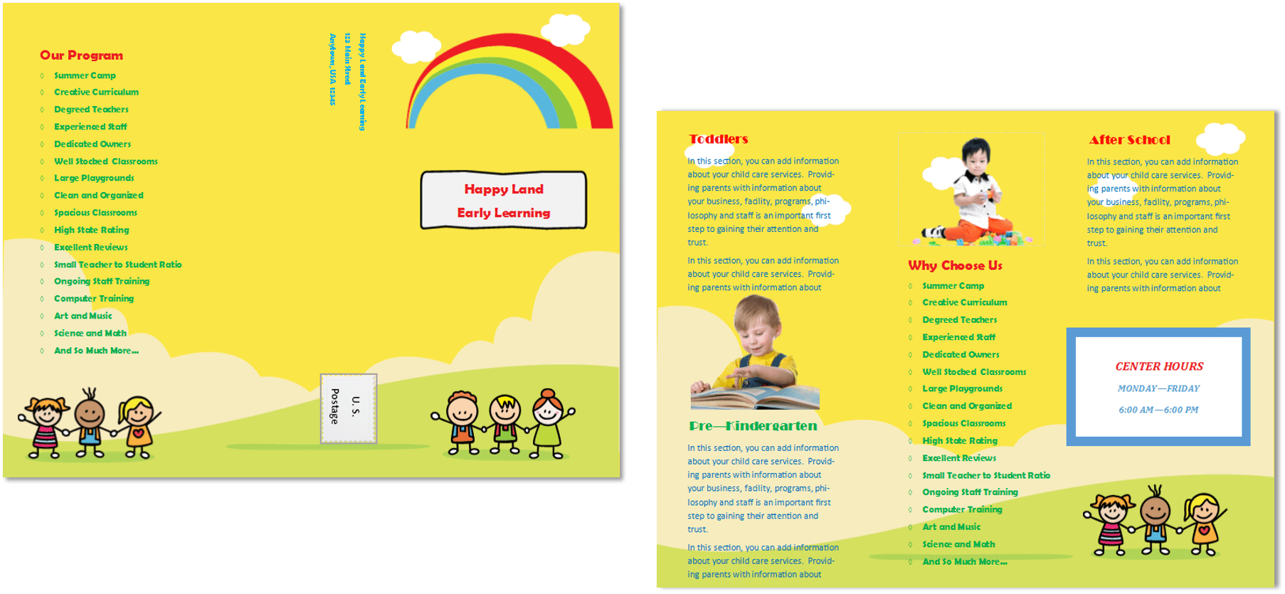 Child Care Business Cards, Child Care Folders, Child Care Marketing,  Preschool Marketing,