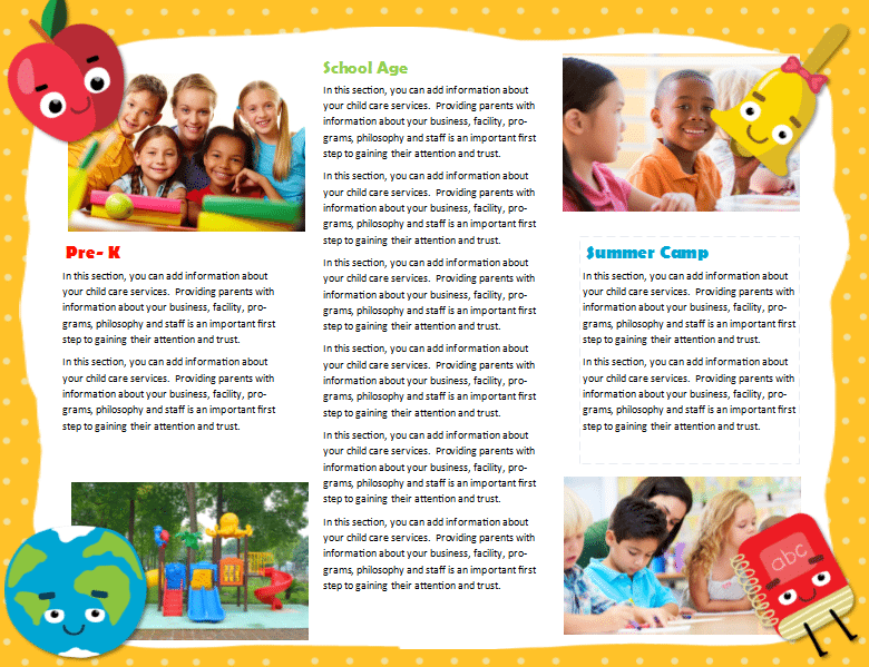 Preschool brochure koolkid international preschool for Preschool brochure template
