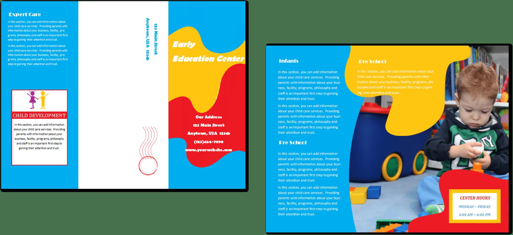 child care brochure template 24 child care owner. Black Bedroom Furniture Sets. Home Design Ideas