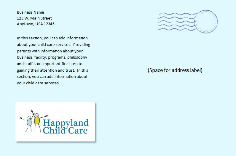 child care postcard template 5 - child care owner, Presentation templates