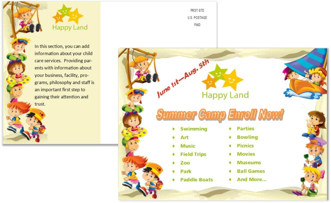 Child Care Postcard Template 8