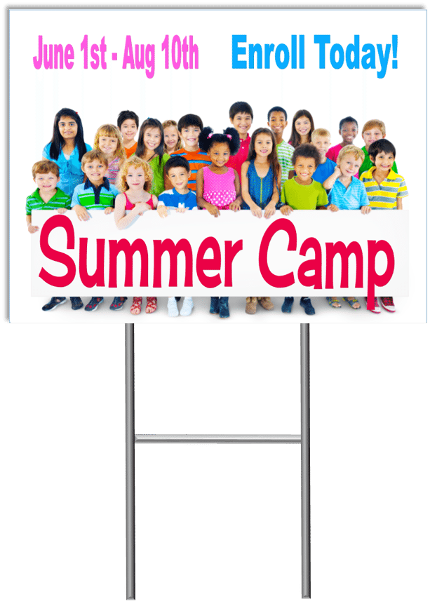 Summer Camp Yard Sign Template 4 with stand medium