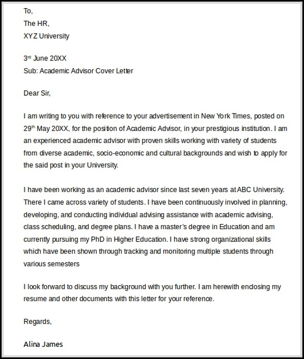 Academic Advisor Cover Letter Templates