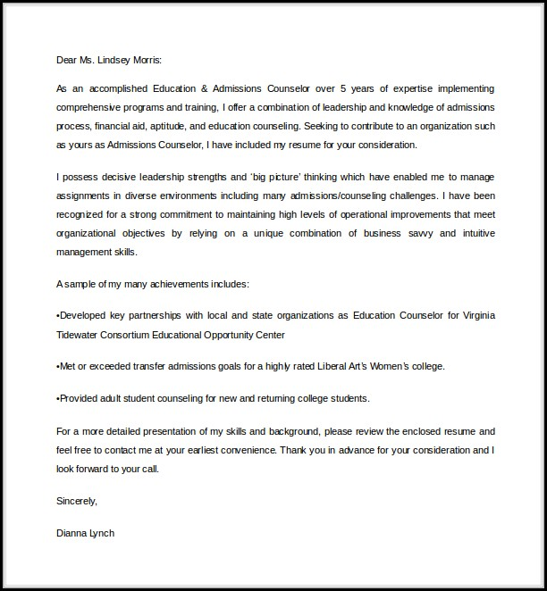 College Admissions Counselor Cover Letter