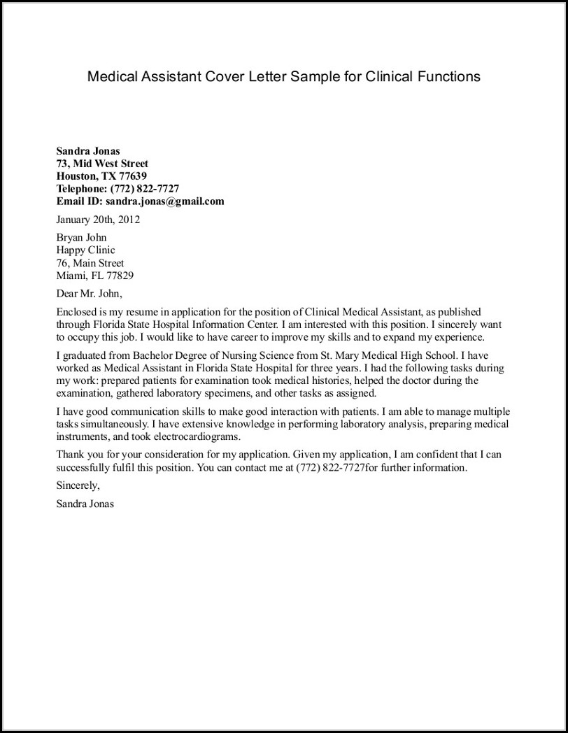 Medical Assistant Cover Letter Templates Free