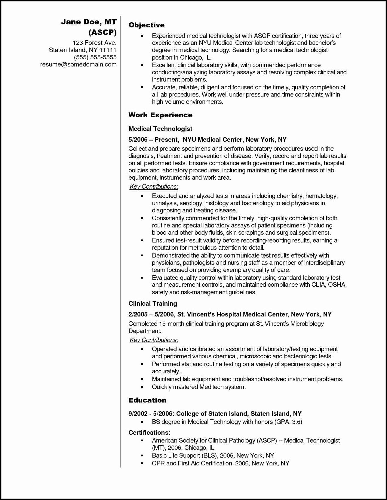 Medical Technologist Resume And Cover Letter Templates
