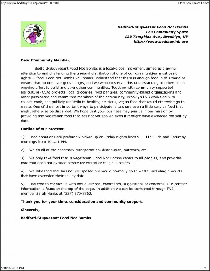 Sample Cover Letter For Donation Request