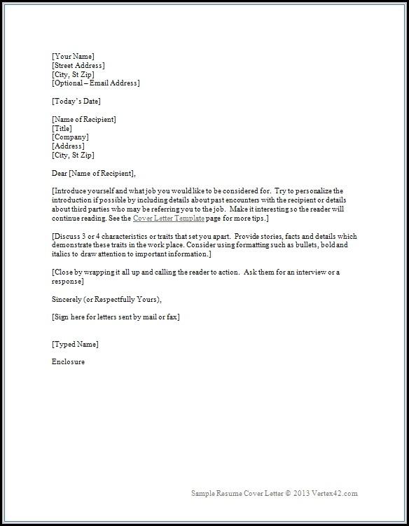 Sample Cover Letter Template For Resume
