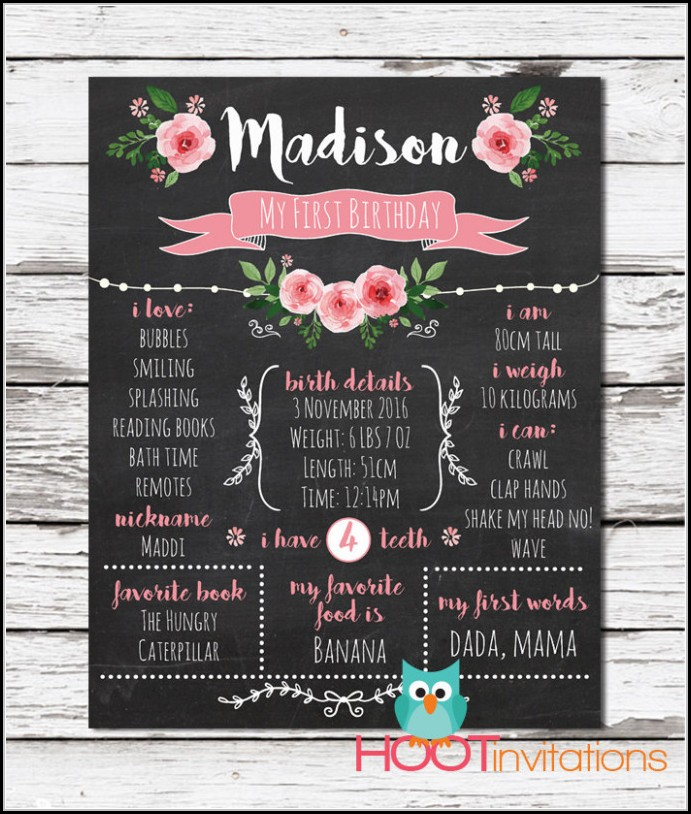 1st Birthday Chalkboard Sign Template Free