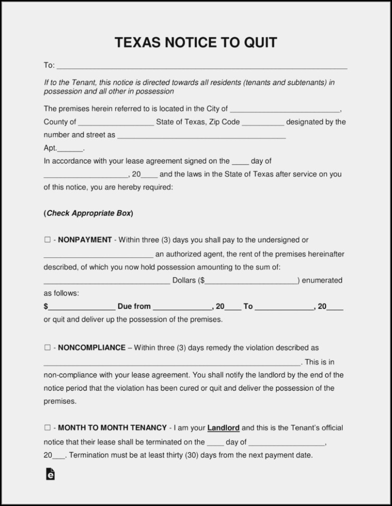 3 Day Eviction Notice Form Texas
